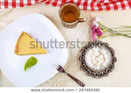 Kluczowych wapno pie kawy plaster tablicy Zdjęcia stock © dehooks