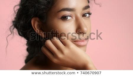tökéletes · egyenes · fehér · fogak · mosolyog · nyár · lány - stock fotó © godfer
