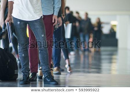 Bekleme hat büyük bir grup insanlar aile kalabalık Stok fotoğraf © gemenacom