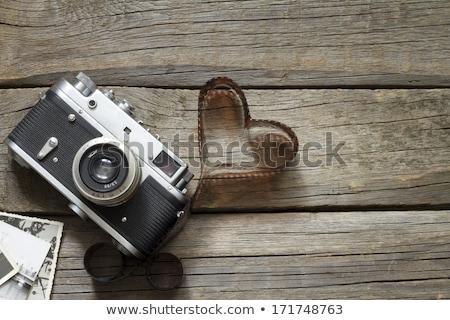 Velho retro câmeras coração amor fotografia Foto stock © dashapetrenko