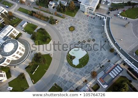 rendkívül · részletes · légi · városkép · házak · erdő - stock fotó © slunicko