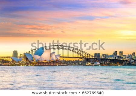 sol · largo · Australia · agua · puesta · de · sol · naturaleza - foto stock © lovleah