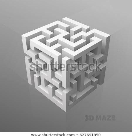 синий · лабиринт · 3D · изолированный · белый · назад - Сток-фото © kirill_m