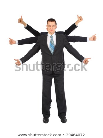 Young businessman with six hands shows gesture ok Stock photo © Paha_L