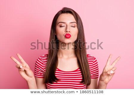 Cute mujer paz signo Foto stock © deandrobot