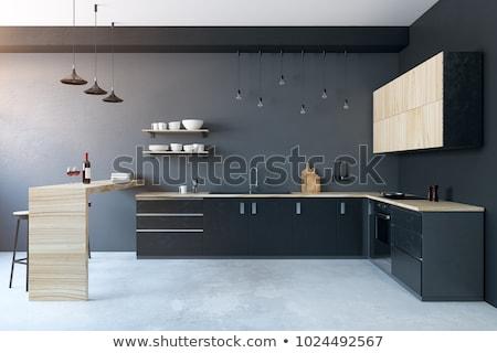 Modern mutfak iç dizayn yeşil akrilik mutfak Stok fotoğraf © sedatseven