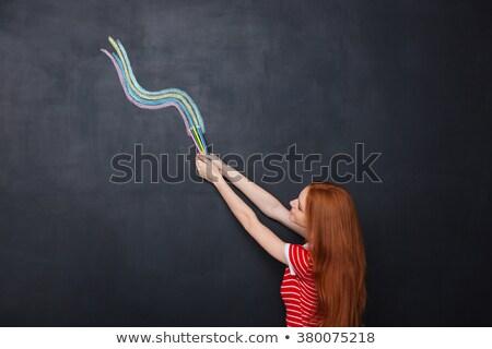 színes · ceruzák · hullám · függőleges · keret · tarka - stock fotó © deandrobot