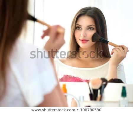 Reggel smink közelkép gyönyörű lány kék szemek jelentkezik Stock fotó © MilanMarkovic78