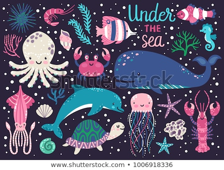 Underwater card with clownfish, vector illustration Stock photo © carodi
