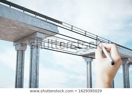 üzletemberek · híd · fogaskerekek · üzlet · nő · üzletember - stock fotó © lightsource