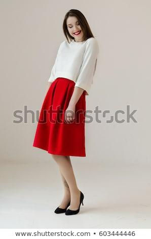 Nina blanco camisa rojo falda ilustración Foto stock © bluering