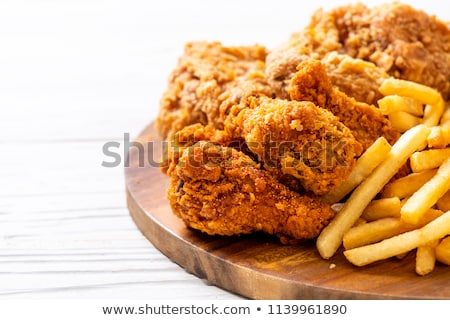 хрустящий жареная курица картофель фри продовольствие куриные мяса Сток-фото © M-studio