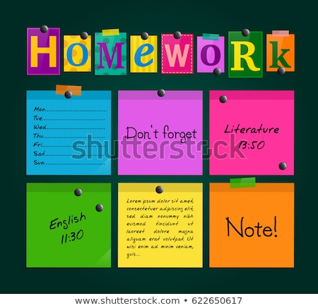 Stock photo: Homework text on notepad