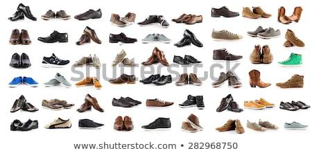 sapatos · isolado · branco · homens · tecido · couro - foto stock © kayros