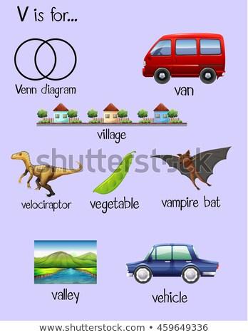 Flashcard letter V is for village Stock photo © bluering