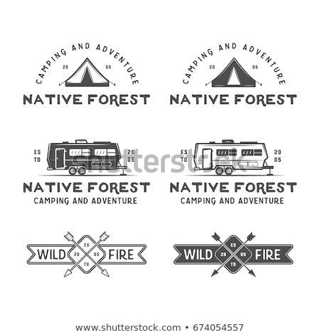 set of monochrome outdoor adventure explorer camp badge logo and label templates trekking club be stock photo © jeksongraphics