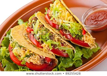 carne · de · vacuno · tacos · queso · ensalada · alimentos · tomate - foto stock © monkey_business