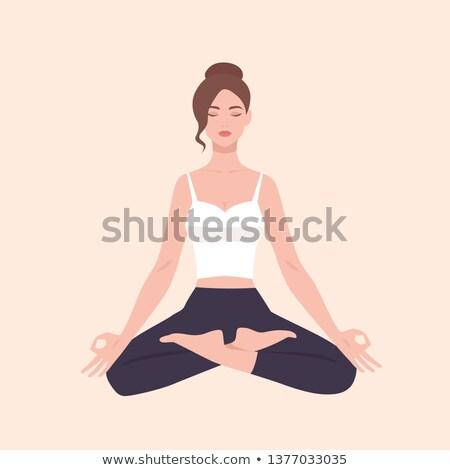 sakin · kadın · oturma · yoga · meditasyon · yalıtılmış - stok fotoğraf © Qingwa