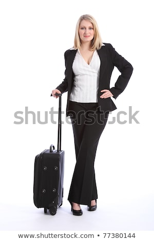 pretty young happy woman with travel bag waiting and posing isol Stock photo © dotshock