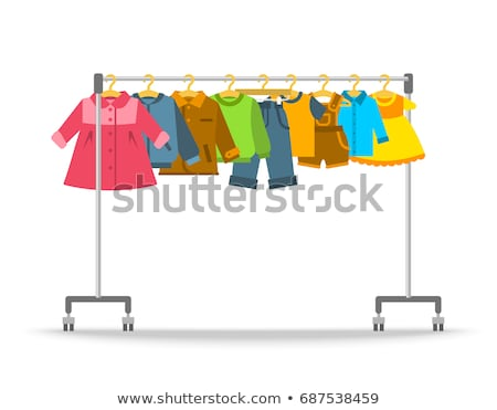 Kids clothes hanging on hanger rack Stock photo © vectorikart