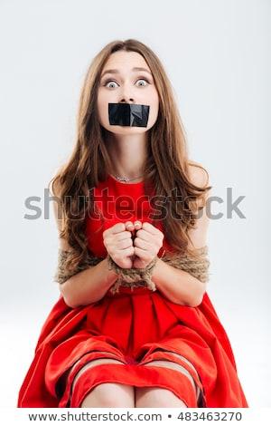 Frau · Gefangener · isoliert · weiß · Hintergrund · Sicherheit - stock foto © elnur