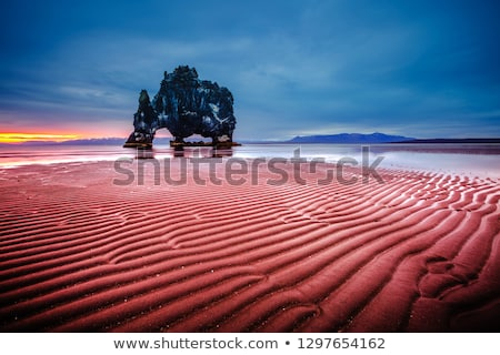 Stock photo: Textured dark sand after the tide. Location famous Hvitserkur ro