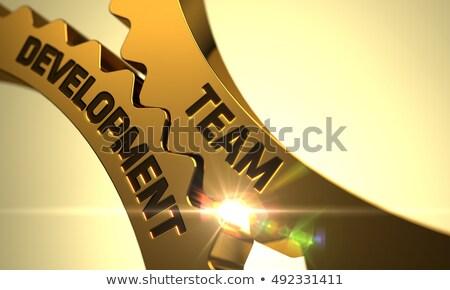 csapatépítés · arany · fémes · sebességváltó · mechanizmus · fogaskerekek - stock fotó © tashatuvango