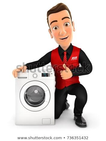3D verkoper wasmachine duim omhoog illustratie Stockfoto © 3dmask