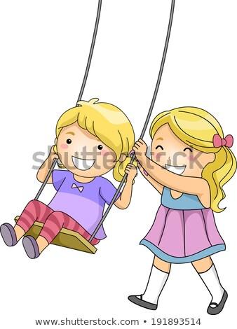 Dziewczyna huśtawka siostra niebo rodziny dziecko Zdjęcia stock © IS2