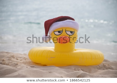Rubber yellow duck with Santa clause hat Stock photo © homydesign