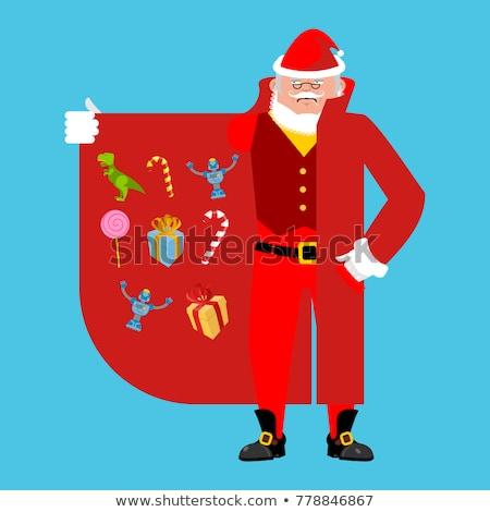 karácsony · illusztráció · mikulás · piros · zsák · tele - stock fotó © popaukropa