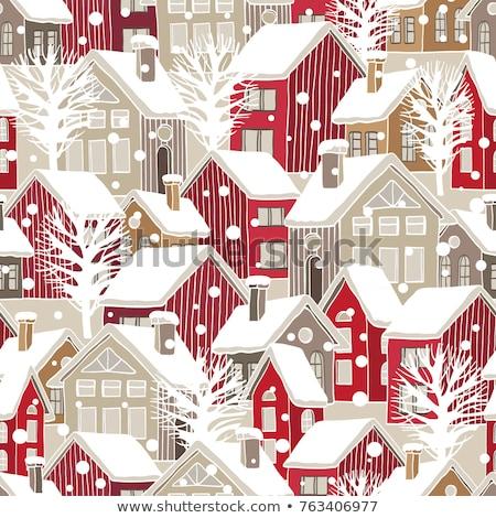 Kolorowy zimą stylizowany domu bezszwowy Zdjęcia stock © tracer