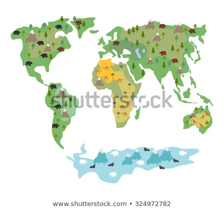 Map of  world with animals and trees. Geographic map of  globe w Stock photo © popaukropa