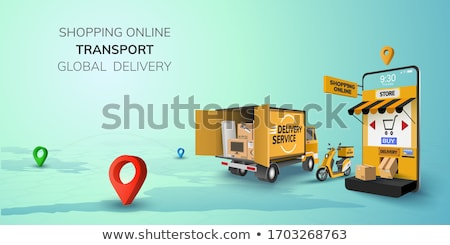 Food delivery yellow truck icon Stock photo © studioworkstock
