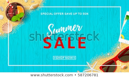 Hello summer web banner background. Sea with sand. Hello Summer Holiday party beach template backdro Stock photo © ikopylov