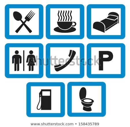 toalett · felirat · baba · gyermek · kék · fürdőszoba - stock fotó © is2