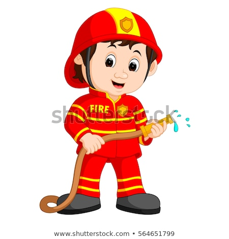 Cartoon Fireman Smiling Stock photo © cthoman