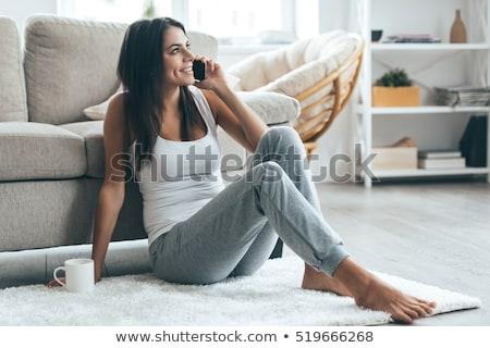 aranyos · fiatal · nő · boldog · telefon · portré · fiatal · lány - stock fotó © studiostoks