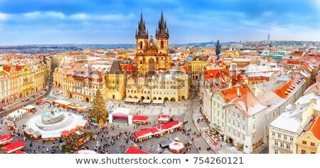 Winter in Prague - city panorama with Tyn Cathedral   Stock photo © benkrut