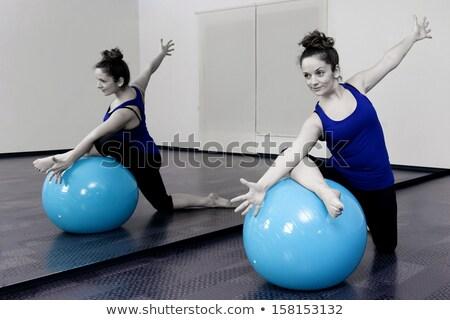 aerobics mirror relax woman pilates stability ball stock photo © lunamarina