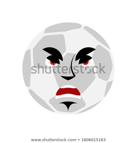 soccer ball angry emoji football ball evil aggressive emotion a stock photo © popaukropa
