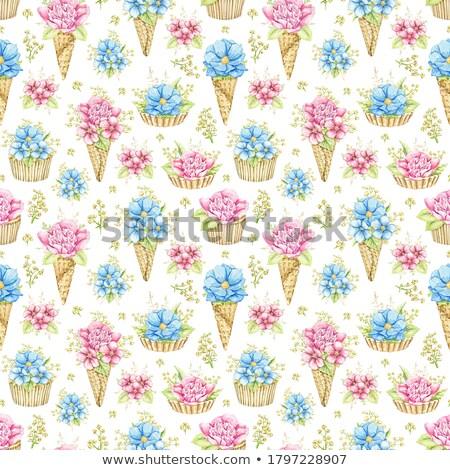 Sweet вафля конус букет синий окрашенный Сток-фото © artjazz