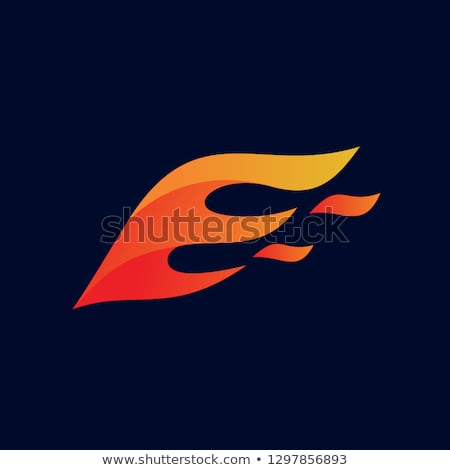 Red Letter E Shaped Fire Icon Vector Illustration Stock photo © cidepix