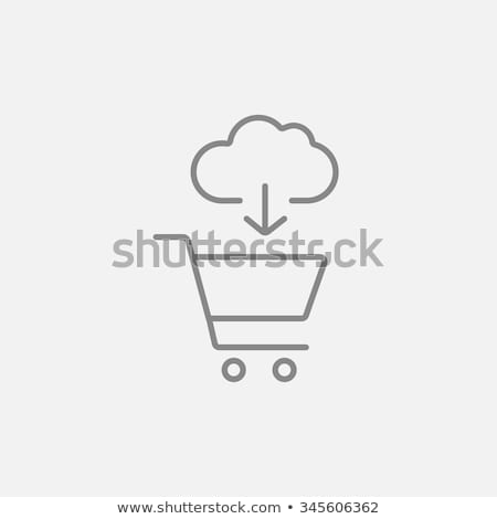 cloud with arrow pointing at shopping cart hand drawn outline doodle icon stock photo © rastudio