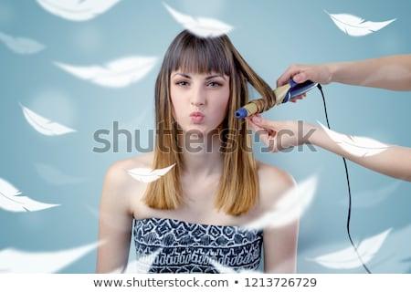 pretty · woman · salon · zwiewny · dość · brunetka · kobieta - zdjęcia stock © ra2studio