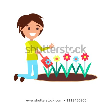 Boy Digging with Little Shovel Flower Bed Vector Stock photo © robuart