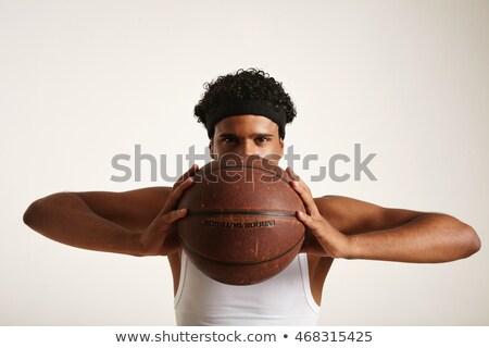 férfi · játszik · kosárlabda · fiatal · kosárlabdázó · lövöldözés - stock fotó © deandrobot
