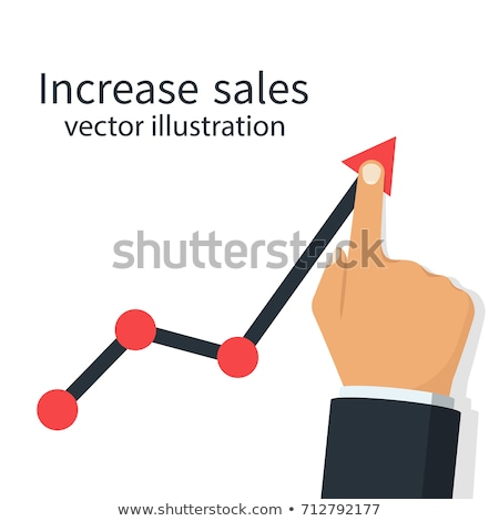 Businessman Raising Arrow Up Graph Of Sales Increase Vector. Isolated Illustration Stock photo © pikepicture