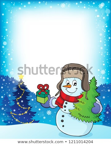 Christmas snowman subject frame 1 Stock photo © clairev