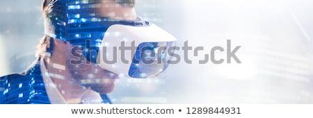 Zakenman virtueel projectie architectuur technologie Stockfoto © dolgachov